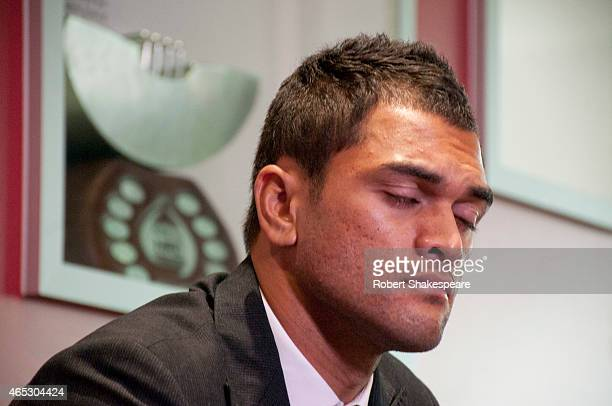 Karmichael Hunt of the Reds speaks to the media during a Queensland Reds press conference at Rugby House on March 6 2015 in Brisbane Australia