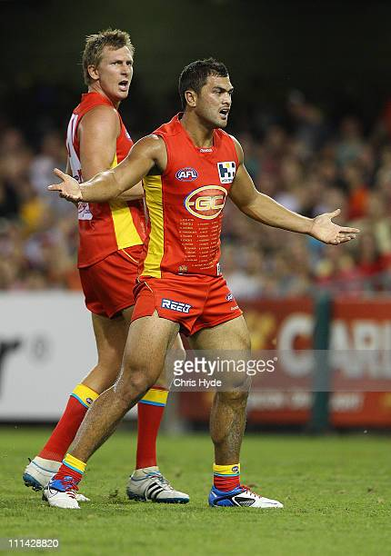 Karmichael Hunt of the Suns reacts during the round two AFL match between the Gold Coast Suns and the Carlton Blues at The Gabba on April 2 2011 in...