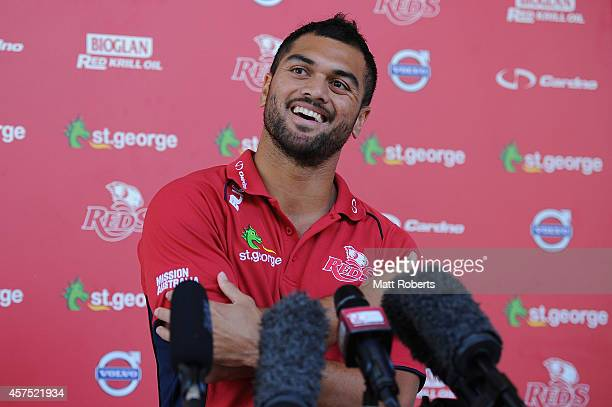 Karmichael Hunt speaks to media during a Queensland Reds Super Rugby media opportunity at Ballymore Stadium on October 20 2014 in Brisbane Australia