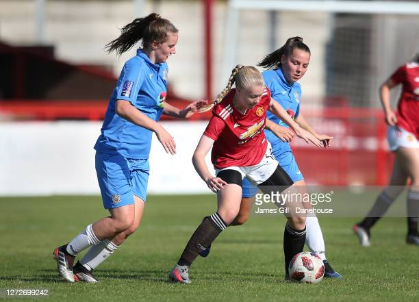Karna Solskjaer of Manchester United Women U21's in action during the match between Manchester United Women U21's and Stockport County Ladies FC at...