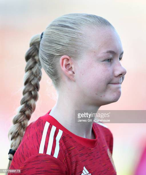 Karna Solskjaer of Manchester United Women U21s looks on after the match between Manchester United Women U21s and Stockport County Ladies FC at Moss...