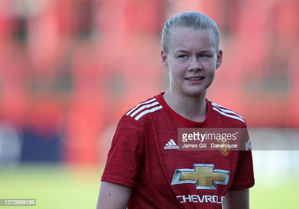 Karna Solskjaer of Manchester United Women U21s looks on during the match between Manchester United Women U21s and Stockport County Ladies FC at Moss...