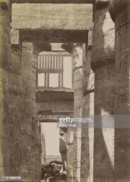 Karnak, Interior of the Hall / Karnak, Interieur de la Salle, Antonio Beato , 1880 - 1889, Albumen silver print, 36.1 x 25.9 cm