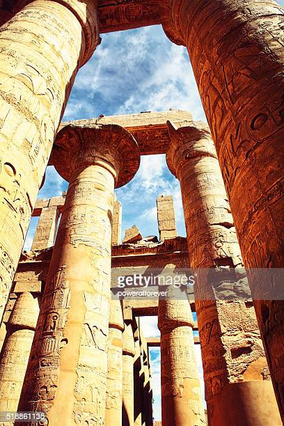 karnak temple - amun hypostyle hall - temples of karnak stock pictures, royalty-free photos & images