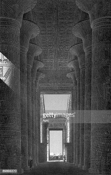 Karnak Temple near Thebes Egypt hall of columns engraving by Coquet after LePere from book Description of Egypt made during egyptian campaign and...