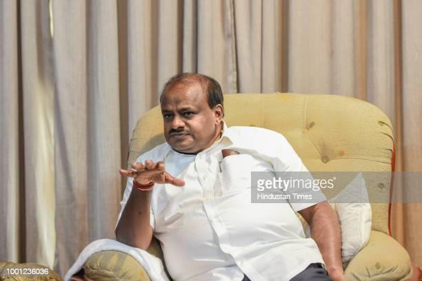 Karnataka Chief Minister and JDU leader HD Kumaraswamy during an interview at Karnataka Bhavan on July 18 2018 in New Delhi India