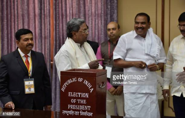 Karnataka Chief Minister Siddaramaiah after casting his vote for the Presidential election at Vidhan Sabha on July 17 2017 in Bengaluru India Approx...