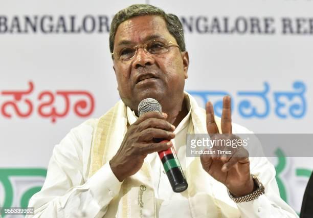 Karnataka Chief Minister Siddaramaiah during a press conference at the Press Club on May 6 2018 in Bengaluru India Siddaramaiah mocked the Karnataka...