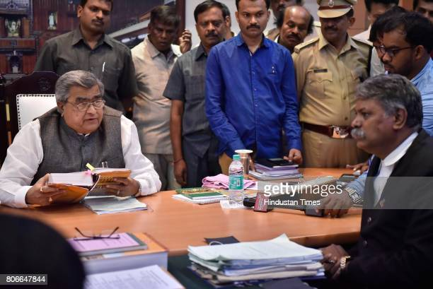 Karnataka Speaker K B Koliwad hearing the review petition against the charges of breach of privilege on the journalists Anil Raj and Ravi Belagere at...