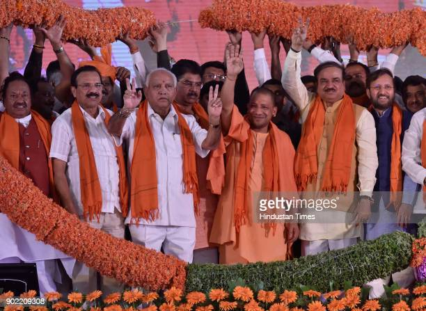 Karnataka state president and chief minister candidate of BJP for the upcoming assembly election B S Yeddyurappa with Uttar Pradesh chief minister...