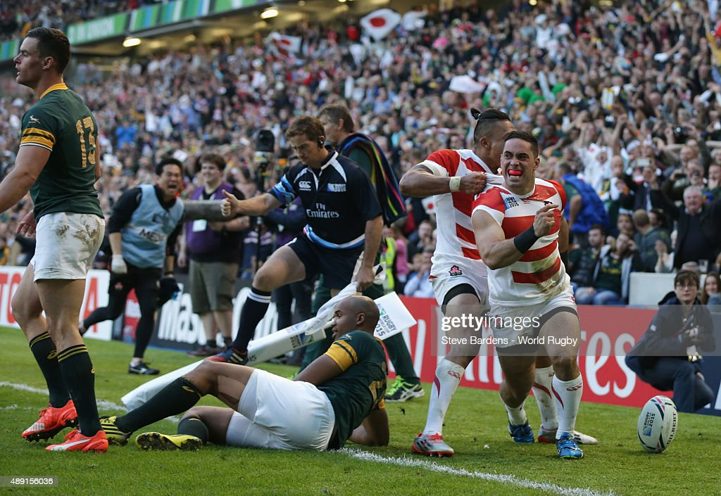Karne Hesketh of Japan celebrates scoring the winning try during the 2015 Rugby World Cup Pool B match between South Africa and Japan at Brighton Community Stadium on September 19, 2015 in Brighton, United Kingdom.