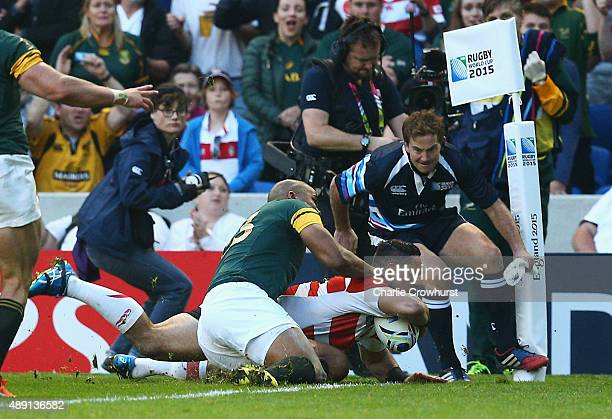 Karne Hesketh of Japan scores the winning try during the 2015 Rugby World Cup Pool B match between South Africa and Japan at the Brighton Community...