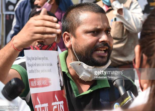 Karni Sena activists stage a protest against the Maharashtra Government following the arrest of Republic TV EditorInChief Arnab Goswami at Jantar...