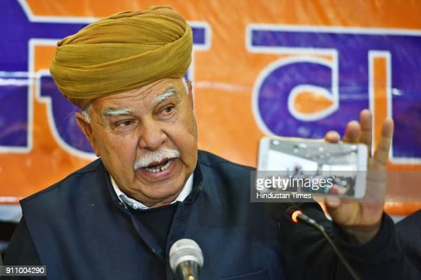 Karni Sena chief Lokendra Singh Kalvi during a press conference upon the release of Sanjay Leela Bansali's movie Padmaavat at Press Club of India on...