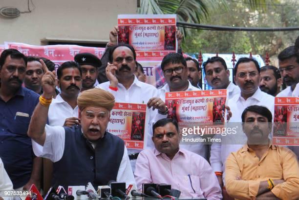 Karni Sena President Lokendra Singh Kalvi addressing a press conference on Padmavati movie at Prem Nagar Borivali on January 19 2018 in Mumbai India...