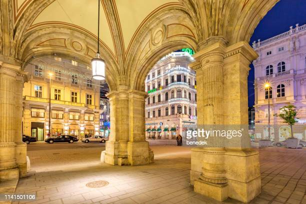 karntner strasse shopping street in downtown vienna austria - colonnade stock pictures, royalty-free photos & images