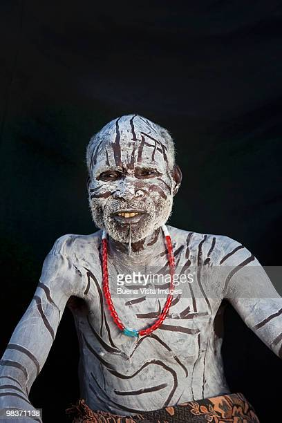 karo triba man - african tribal face painting stock photos and pictures