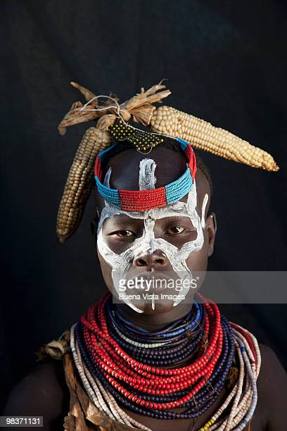 karo tribe woman - african tribal face painting stock photos and pictures