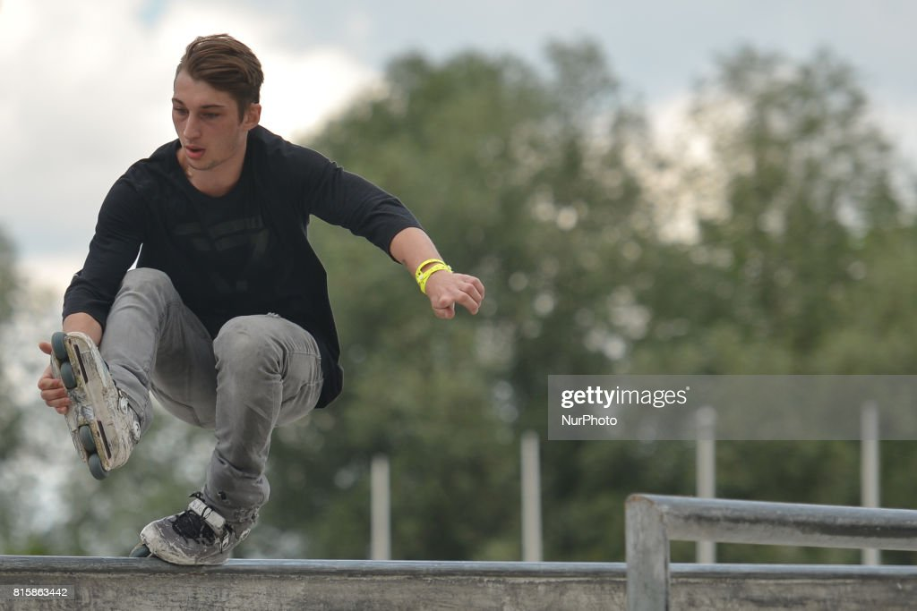 Karol Byrski during the final of Rollerblading competition, on the final day of Carpatia Extreme Festival 2017, in Rzeszow. On Sunday, July 16, 2017, in Rzeszow, Poland.
