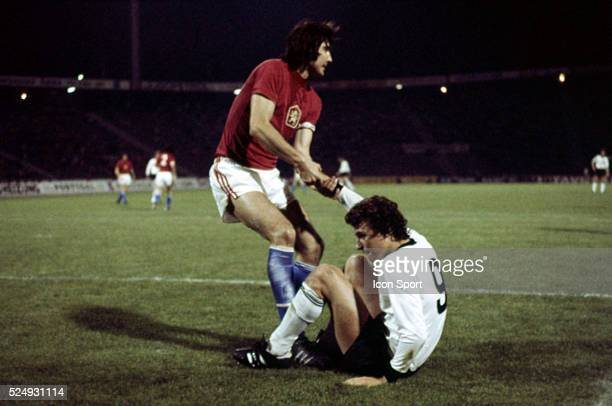 Karol Dobias of Czechoslovakia and Dieter Muller of West Germany during the European Championship Final between Czechoslovakia v Germany in Stade...