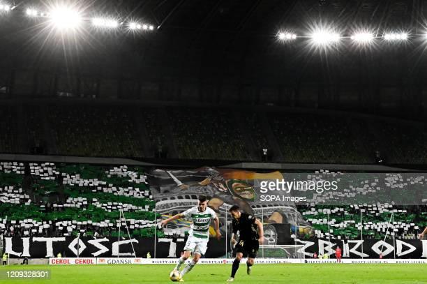Karol Fila of Lechia in action during the Polish Ekstraklasa match between Lechia Gdansk and Gornik Zabrze at Stadion Energa stadium