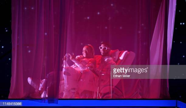 Karol G and Anuel AA perform during the 2019 Billboard Latin Music Awards at the Mandalay Bay Events Center on April 25, 2019 in Las Vegas, Nevada.