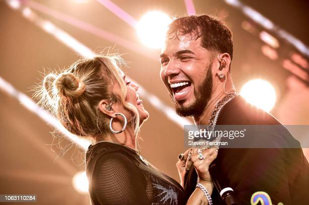 Karol G and Anuel AA perform live on stage during Anuel AA Karol G In Concert at United Palace Theater on November 17 2018 in New York City