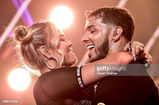 Karol G and Anuel AA perform live on stage during their concert at United Palace Theater on November 17 2018 in New York City