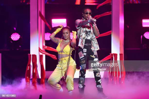 Karol G and Quavo perform onstage at the 2018 Billboard Latin Music Awards at the Mandalay Bay Events Center on April 26 2018 in Las Vegas Nevada