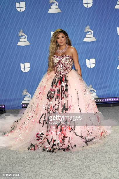 Karol G attends The 21st Annual Latin GRAMMY Awards at American Airlines Arena on November 19, 2020 in Miami, Florida.