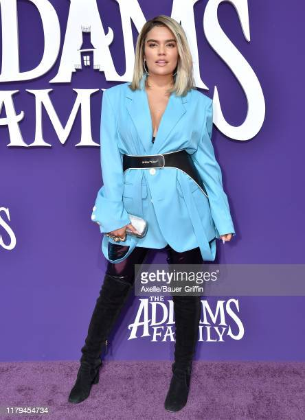 Karol G attends the Premiere of MGM's The Addams Family at Westfield Century City AMC on October 06 2019 in Los Angeles California