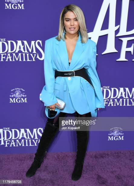 """Karol G attends the premiere of MGM's """"The Addams Family"""" at Westfield Century City AMC on October 06, 2019 in Los Angeles, California."""