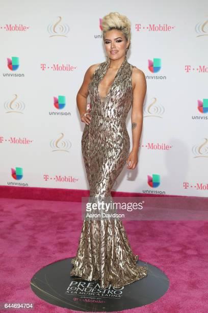 Karol G attends Univision's 29th Edition of Premio Lo Nuestro A La Musica Latina at the American Airlines Arena on February 23 2017 in Miami Florida