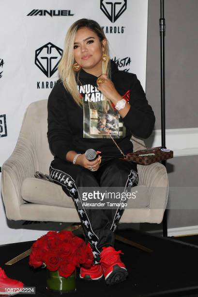 Karol G is seen at a press conference to announce her joint Latin America Tour with Anuel AA at the Mondrian Hotel on January 23 2019 in Miami Beach...