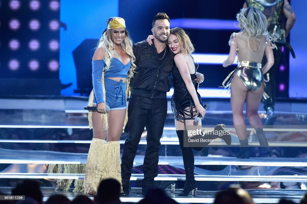 Karol G, Luis Fonsi and Paty Cantu perform onstage at the 2018 Billboard Latin Music Awards at the Mandalay Bay Events Center on April 26, 2018 in Las Vegas, Nevada.