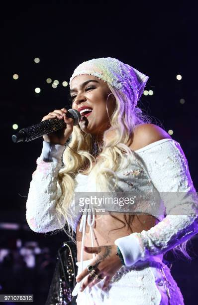 Karol G performs at Mix Live Presented by Uforia at American Airlines Arena on June 9 2018 in Miami Florida