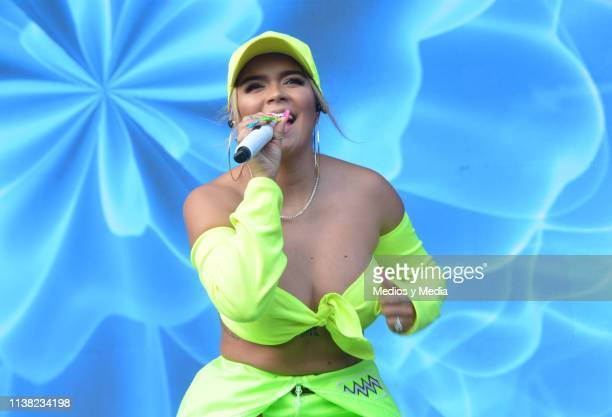 Karol G performs during a show as part of the Pal Norte Music Festival 2019 on March 23 2019 in Monterrey Mexico