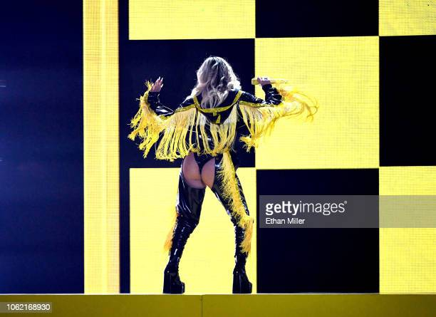 Karol G performs onstage during the 19th annual Latin GRAMMY Awards at MGM Grand Garden Arena on November 15, 2018 in Las Vegas, Nevada.