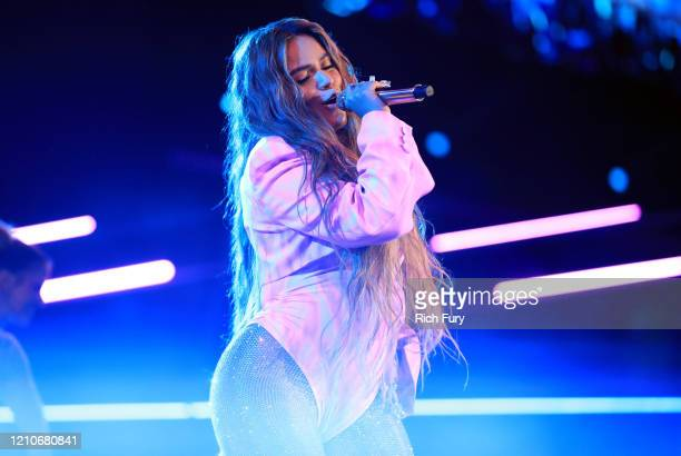 Karol G performs onstage during the 2020 Spotify Awards at the Auditorio Nacional on March 05, 2020 in Mexico City, Mexico.