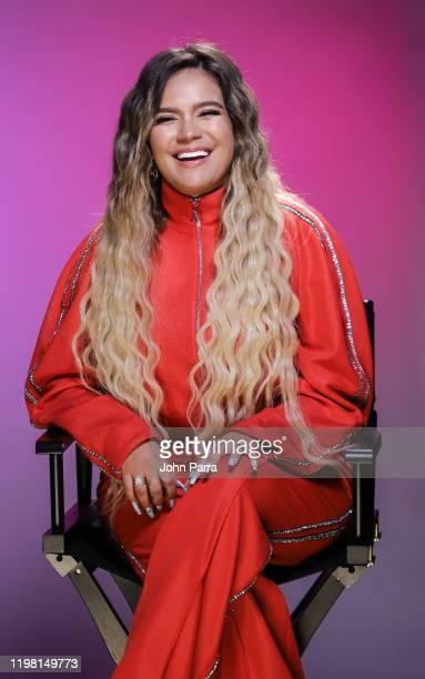 Karol G visits La Musica Studio on January 07, 2020 in Miami, Florida.