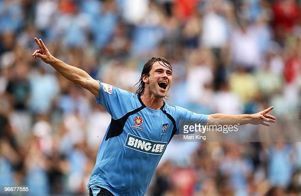 Karol Kisel of Sydney celebrates scoring a first half goal during the round 27 A-League match between Sydney FC and the Melbourne Victory at Sydney...