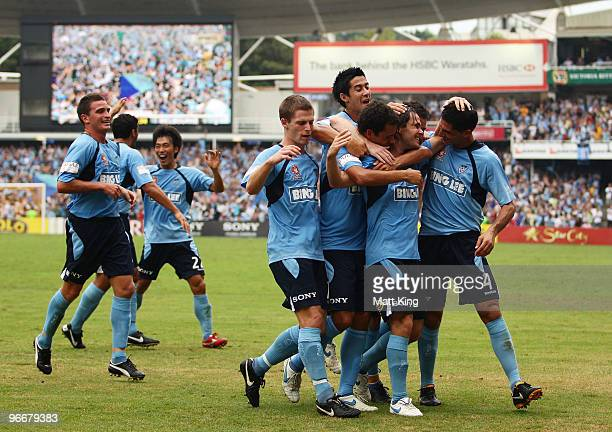 Karol Kisel of Sydney celebrates with team mates after scoring a first half goal during the round 27 A-League match between Sydney FC and the...
