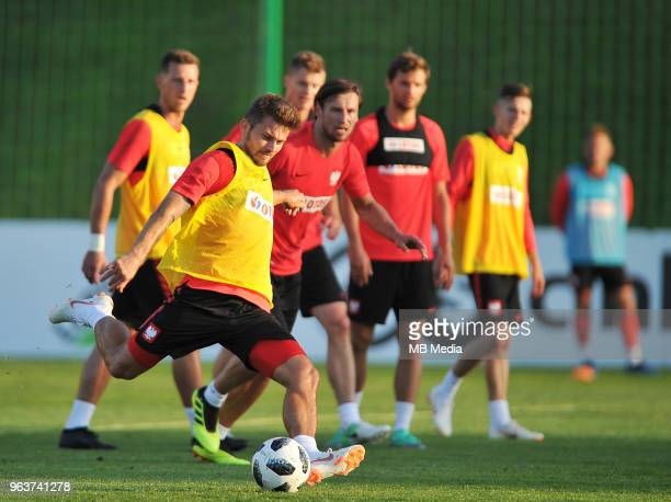 Karol Linetty during a training session of the Polish national team at Arlamow Hotel during the second phase of preparation for the 2018 FIFA World...