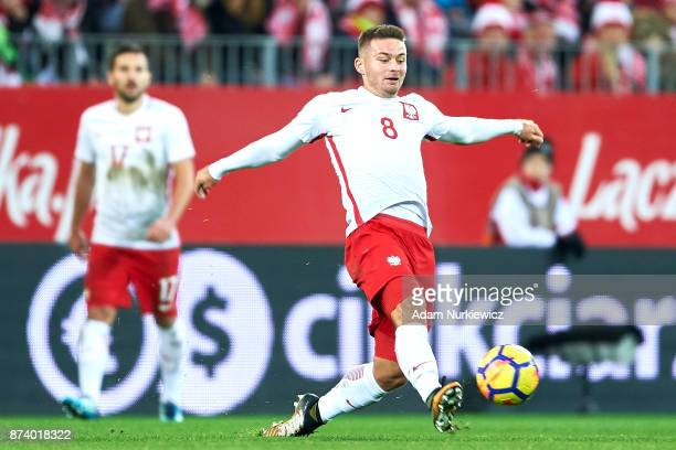 Karol Linetty of Poland controls the ball during the International Friendly match between Poland and Mexico at Energa Arena Stadium on November 13,...