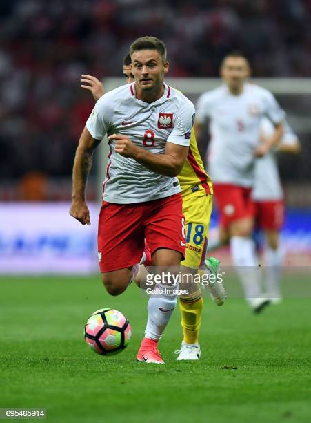Karol Linetty of Poland in action during the 2018 FIFA World Cup Russia eliminations match between Poland and Romania on June 10 2017 at the National...