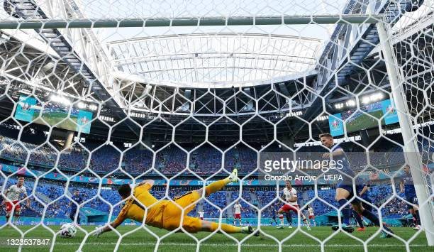 Karol Linetty of Poland scores their side's first goal past Martin Dubravka of Slovakia during the UEFA Euro 2020 Championship Group E match between...