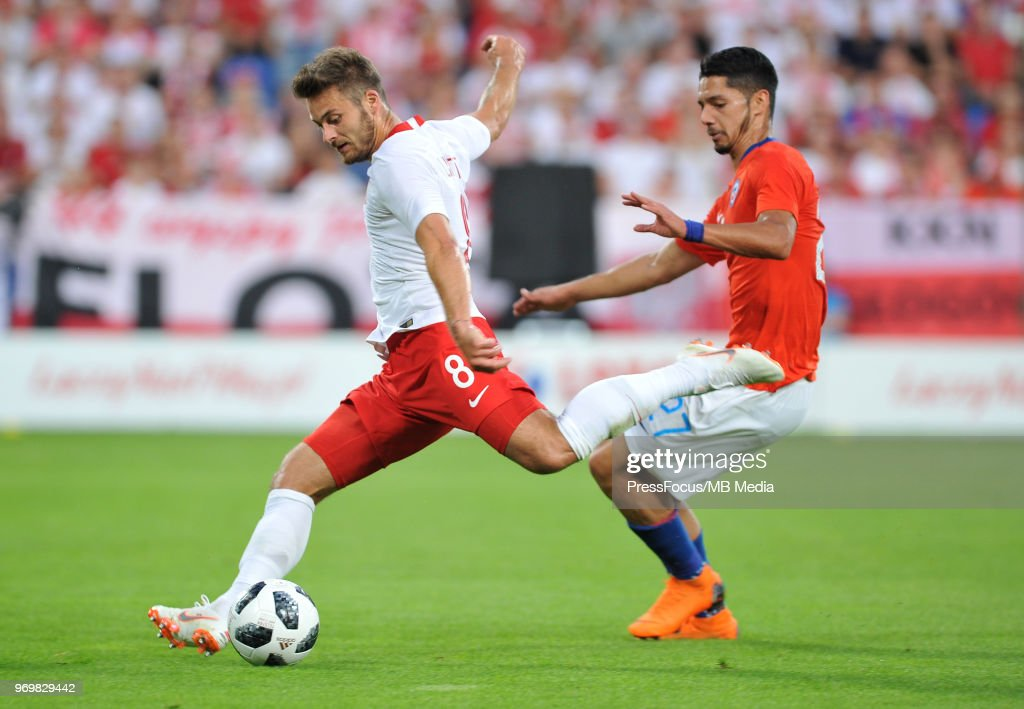 Karol Linetty of Poland takes a shot on goal during International Friendly match between Poland and Chile on June 8, 2018 in Poznan, Poland.