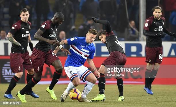 Karol Linetty of Sampdoria in action during the Coppa Italia match between UC Sampdoria and AC Milan at Stadio Luigi Ferraris on January 12 2019 in...