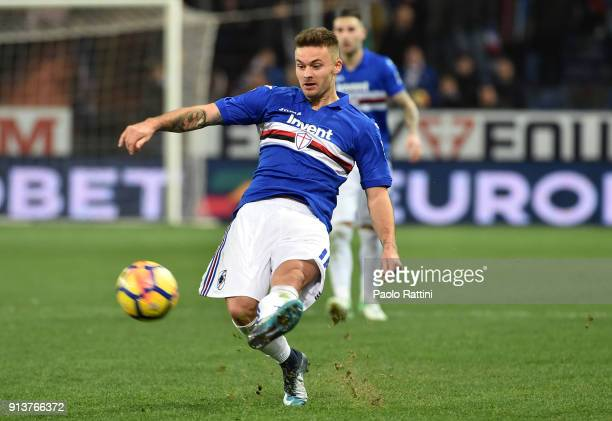 Karol Linetty of Sampdoria in action during the serie A match between UC Sampdoria and Torino FC at Stadio Luigi Ferraris on February 3 2018 in Genoa...