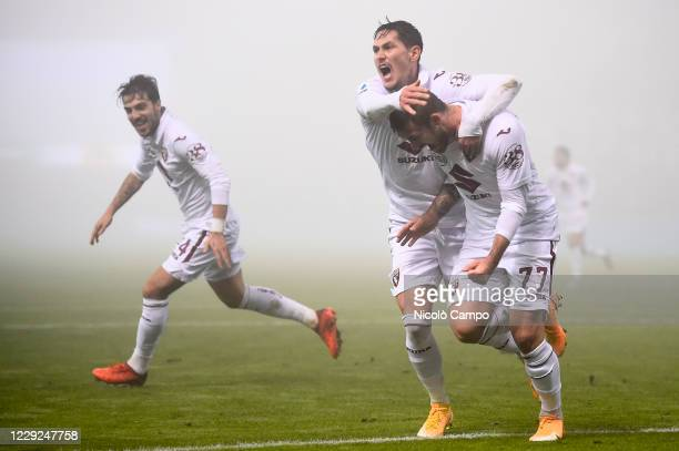 Karol Linetty of Torino FC celebrates after scoring a goal during the Serie A football match between US Sassuolo and Torino FC The match ended 33 tie